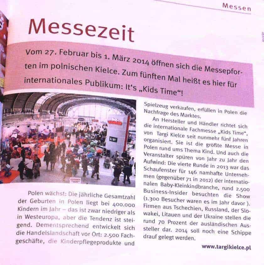 Targi Czas Dziecka w Kielcach przyciągają coraz więcej firm z zagranicy, dlatego w 2015 r. odbędą się pod nazwą Kids Time. Dotychczas używano jej wyłącznie do promowania wystawy za granicą.